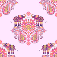 Seamless Pattern Of Indian Elephants And Flowers. Paisley. Ornament Stylized As The Culture Of India. Vector Graphics