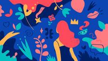 Motivo Floreale Del Mondo Femminile. Una Ragazza In Un Giardino Fiorito