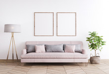 Mock Up Poster Frame In Modern Interior Background, Living Room With Pink Sofa And Grey Pillows, Wooden Floor Lamp And Green Plant, Scandinavian Style, Render, 3D Illustration