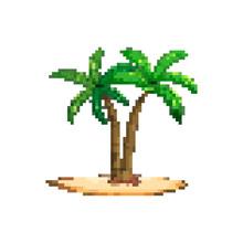 Pixel Art Palm Tree. For Game. 8 Bit