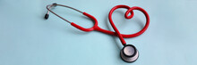 Red Stethoscope With Heart On ...