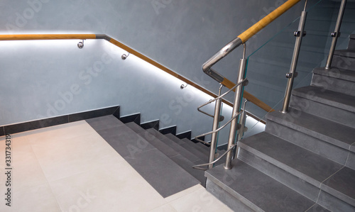 Stainless steel, glass and wood railing Canvas Print