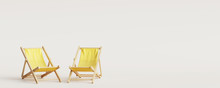 Five Yellow Wooden Beach Chair...