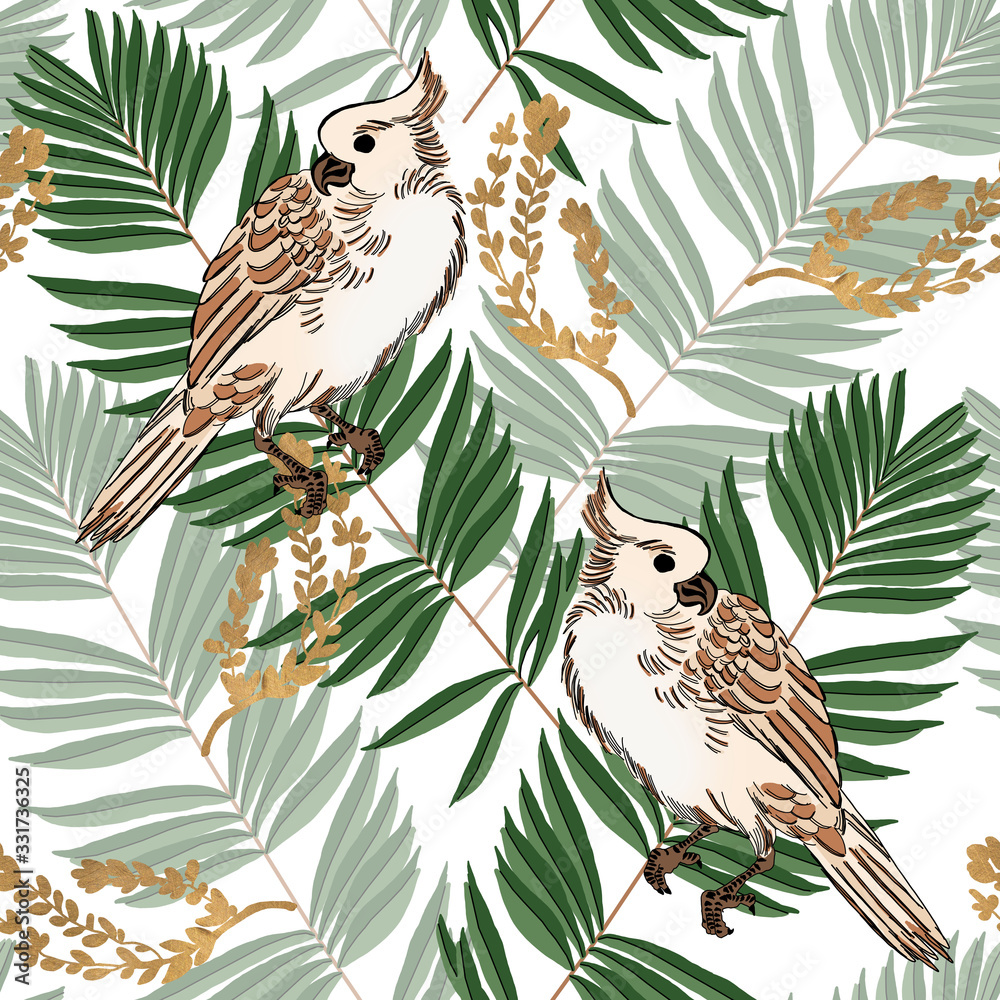 Colorful parrots and exotic plants.Tropical leaves on white background.Seamless pattern.