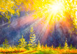 Leinwanddruck Bild - Sunset forest landscape. Watercolor painting. Hand drawn outdoor illustration. Nature background, watercolor composition. Park, trees, sun rays. Painted backdrop.