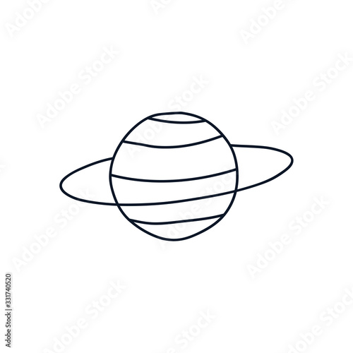 Photo neptune planet icon, line style