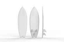 Blank Surfboard For Mock Up And Design, 3d Render Illustration.