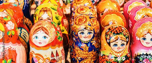 Colorful Russian Nesting Dolls Matreshka At The Market Wallpaper Mural