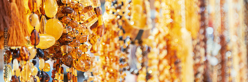 Amber beads in a jewelry store window Canvas Print