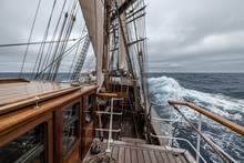 Sailing Ship On The Sea Heading To Antarctica Drake Passage Stormy Weather