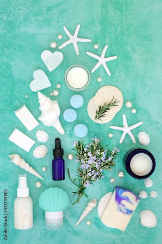 Skincare beauty treatment with fresh rosemary herb and cosmetic products Canvas Print