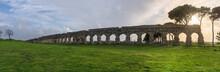 Ruins Of Roman Aqueduct Aqua Claudia In Parco Degli Acquedotti Park, Rome, Italy