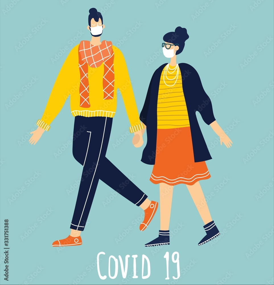 Fototapeta People wearing protective medical mask for prevent virus Covid19 in the flat style