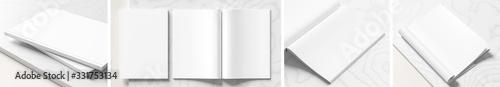 Valokuva Realistic magazine or catalog mock up on white marble background