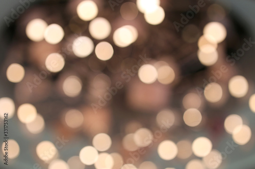 Valokuva White and Blue Light Orbs Blurred Bokeh Abstract Background