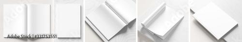 Fototapeta Realistic magazine or catalog mock up on white marble background. Blank magazine mockups rendered with four different variations. 3D illustration. obraz
