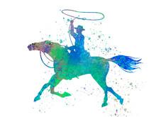 American Cowboy In Watercolor ...