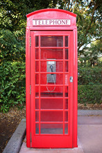 Old Fashioned British Style Red Telephone Booth Box