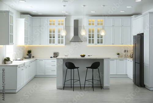 Obraz na plátně Beautiful kitchen interior with new stylish furniture