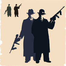 Two Dark Silhouettes Of  Gangsters.