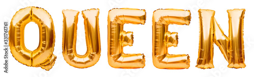 Photo Golden word QUEEN made of inflatable balloons isolated on white background
