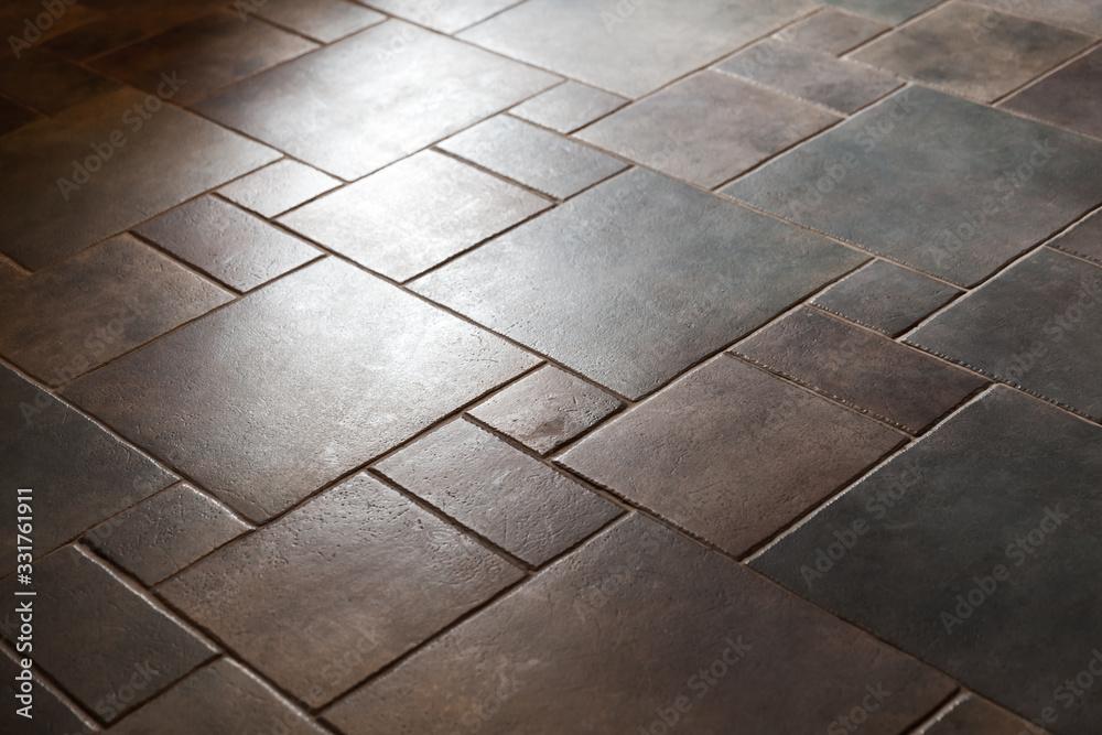 Fototapeta Shiny stone floor tiling, background photo