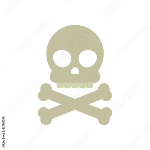 toxic symbol, skull and crossbones icon, flat style фототапет