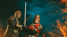 Two Medieval Knights Armed Wit...
