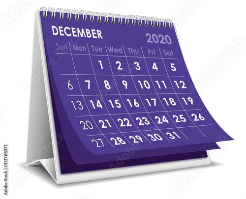 December 2020 calendar Wallpaper Mural