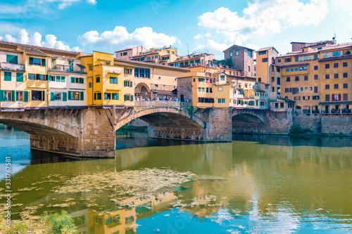 Ponte Vecchio bridge over the Arno River in Florence Italiy, colourful bridge ov Canvas Print