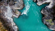 Mountain turquoise river, rocky banks aerial view. Drone shooting. Katun River, Altai.
