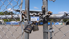 Close Up Of Locked Gate On A S...