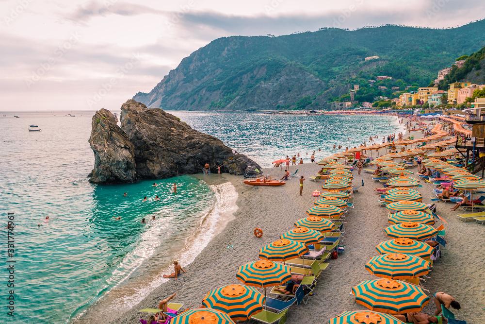 Fototapeta pebble beach Monterosso on vacation Cinque terre Monterosso al Mare pebble beach Cinque Terre, Italy