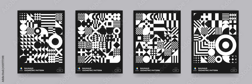 Fototapeta Abstract geometric black and white pattern background, vector Bauhaus art design. Circle, triangle and square lines Bauhaus pattern backgrounds set
