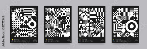 Obraz Abstract geometric black and white pattern background, vector Bauhaus art design. Circle, triangle and square lines Bauhaus pattern backgrounds set - fototapety do salonu