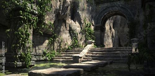Ruins of the sacred temple with green vegetation Canvas Print
