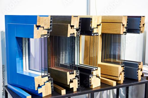 Obraz Modern wooden triple glazed windows in section - fototapety do salonu