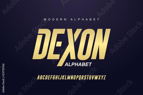 Papel de parede Elegant golden alphabet letters font set
