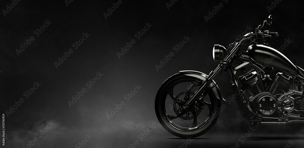 Fototapeta Black motorcycle on a dark background with smoke, side view (3D illustration)