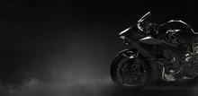 Black Motorcycle On A Dark Bac...