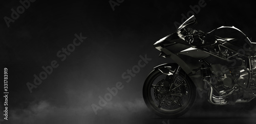 Cuadros en Lienzo Black motorcycle on a dark background with smoke, side view (3D illustration)