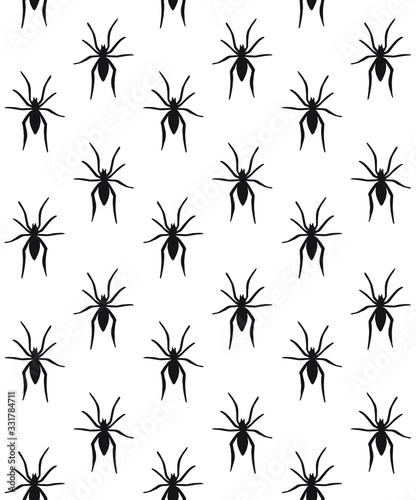 Vászonkép Vector seamless pattern of black spider silhouette isolated on white background