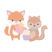 Happy Birthday Fox Squirrel Gift Celebration Decoration Card