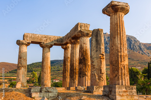Fényképezés Ruins of Temple of Apollo in Corinth Greece standing up on a hill with remenants