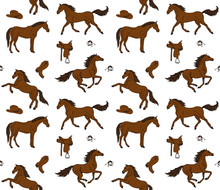 Vector Seamless Pattern Of Hand Drawn Doodle Sketch Colored Horses And Cowboy Western Equipment Isolated On White Background