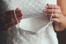 Bride Hands Holding White Medi...
