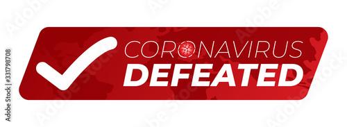 Cuadros en Lienzo Coronavirus Defeated Illustration Sticker Badge