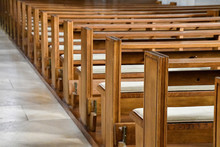 Rows Of Empty Pews In Church
