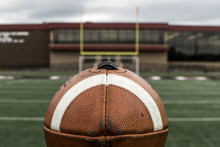 Football And Field Goal At Eye Level