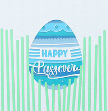"""""""Happy Passover"""" Square Greeting Card With Paper Cut Design."""